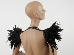 Versatile wings - black feather shrug harness and collar Shoulder accessory