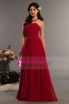 a-line bridesmaid dresses strapless sleeveless floor-length chiffon