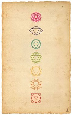 The 7 Chakras - From Bottom To Top: 1) Feeling Grounded [red] 2) Acceptance Of Change And Others [orange] 3) Confidence [yellow] 4) Love [green] 5) Communication [blue] 6) Wise Decision Making [indigo] 7) Spirituality [pink]