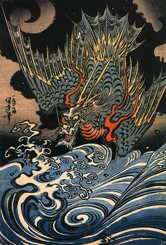 "Kuniyoshi Utagawa, Japanese Dragon 2 - Sea-dragon, by Utagawa Kuniyoshi. Watatsumi 海神 ""sea god"" or Ryūjin 龍神 ""dragon god"" was the ruler of seas and oceans, and described as a dragon capable of changing into human form. He lived in the undersea Ryūgū-jō 龍宮城 ""dragon palace castle"", where he kept the magical tide jewels."