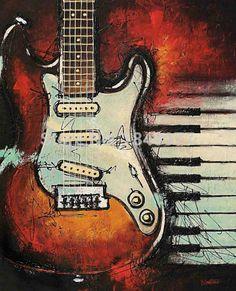 Vintage Classic Canvas Art - Bruce Langton x Guitar Painting, Music Painting, Music Artwork, Guitar Art, Oil Painting On Canvas, Art Music, Music Wall, Oil Painting Pictures, Pictures To Paint