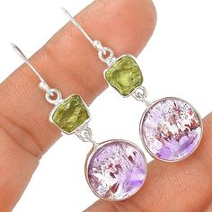 Cacoxenite Super Seven & Moldavite 925 Sterling Silver Earring Jewelry EE4358 | eBay