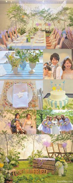 real wedding / 実際のプロデュース / ムーミン谷の星まつり / ストライプ / 星 / LED / 切り株 / 森 / 結婚式場 / 福島 / ウェディング / 結婚式 / wedding / オリジナルウェディング / プティラブーシュカ / トキメクウェディング