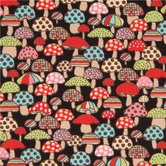 black twill colorful red green blue mushroom fabric from Japan 2