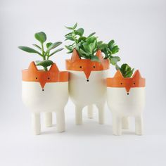 Fox Planters -Three Ceramic Fox Plant Pots - Garden