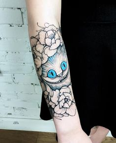 Flower with cat forearm tattoo - 110 Awesome Forearm Tattoos