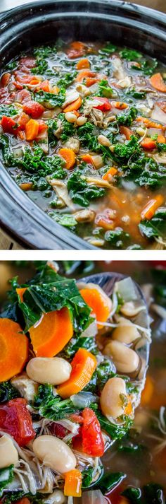 Slow Cooker Chicken White Bean and Kale Soup with Parmesan Shavings from The Food Charlatan. Slow cook your way to a steamy bowl of comforting soup! Full of tender chicken beans kale and Parmesan shavings this easy dinner is healthy to boot. Serve w Crock Pot Recipes, Crock Pot Soup, Slow Cooker Soup, Crock Pot Cooking, Slow Cooker Chicken, Slow Cooker Recipes, Soup Recipes, Cooking Recipes, Slower Cooker