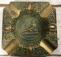 Vintage Achille Mourant Cofou Square  Brass Pin Dish Ashtray Souvenir Greece