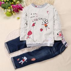 ==> [Free Shipping] Buy Best Spring Autumn Style Baby Girl Clothes Set Long Sleeve Fashion Cartoon T-shirtDenim Pants 2Pcs Infant Clothing Set for 2-6T Online with LOWEST Price | 32821040463