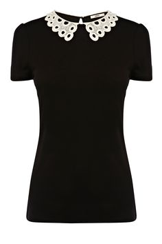 Oasis Broderie Collar Top