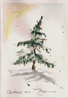 Small Fir in Snow, holiday 2011 watercolor print on x paper Watercolor Christmas Art, Watercolor Cards, Watercolor Print, Watercolor Illustration, Watercolor Paintings, Watercolors, Painted Christmas Cards, Christmas Tree Art, Xmas Drawing