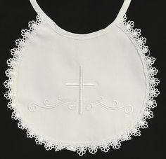 Cotton Christening Bib - Girl