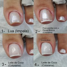 "3,872 curtidas, 86 comentários - Grazi Brum (@grazielabrum) no Instagram: ""Bom dia! Sugestão de francesinha: . 1- Lua (Impala) 2- Francesinha com o Pétala Branca (Colorama) 3…"" Elegant Nails, Classy Nails, Toe Nail Art, Acrylic Nails, Feet Nails, Manicure And Pedicure, Diy Nails, Nails Inspiration, Beauty Nails"