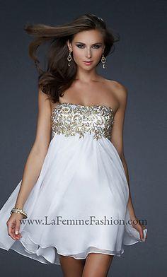 Short Strapless White & Gold Dress by La Femme - Style: LF-17107 $378