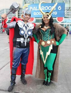 Blood brothers Thor and Loki kicking ass and taking names.   25 Badass Couple Costumes From Comic-Con You Need To See