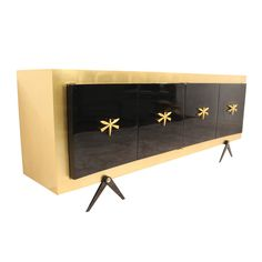 Gold Leaf and Black Lacquer Custom Credenza by Arturo Pani, Mexico, 1950 | From a unique collection of antique and modern credenzas at https://www.1stdibs.com/furniture/storage-case-pieces/credenzas/