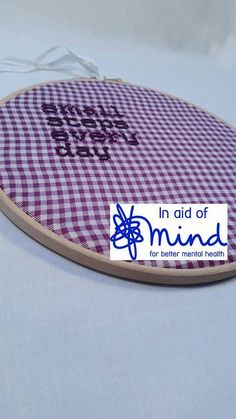 """Purple """"Small Steps Every Day"""" Embroidery 8"""" hanging mental health charity…"""