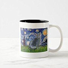 Russian Blue Cat Mug Starry Night - Russian Blue Cat 2 Coffee Mug, Black Two-Tone Mug 11 oz