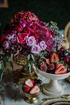 24 Jewel-Toned Wedding Centerpieces That Will Dazzle Your Guests - weddingtopia Jewel Tone Wedding, Purple Wedding, Trendy Wedding, Wedding Colors, Wedding Flowers, Floral Centerpieces, Wedding Centerpieces, Wedding Table, Wedding Decorations