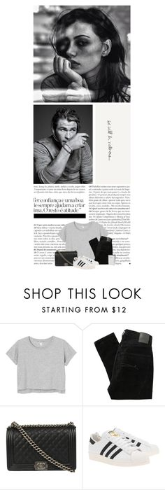 """""""burnt lungs, sour taste"""" by sassy ❤ liked on Polyvore featuring Kevin O'Brien, Monki, Nobody Denim, Chanel, adidas Originals, J.Crew, women's clothing, women, female and woman"""
