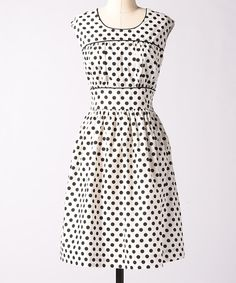 Take a look at this White Fine Focus Polka Dot Dress on zulily today!