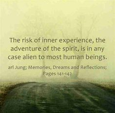 The risk of inner experience, the adventure of the spirit, is in any case alien to most human beings. ~Carl Jung; Memories, Dreams and Reflections; Pages 141-142.