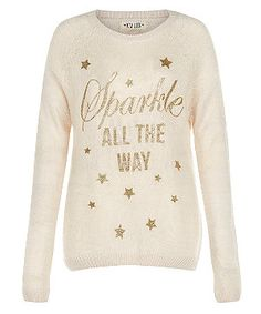 Stone Sparkle All The Way Christmas Jumper    New Look