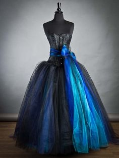 Black and Blue Long Gothic Burlesque Corset Prom Dress - Devilnight.co.uk