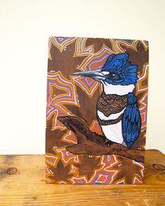 Kingfisher Zentangle Original Acylic Painting  on Wood - Cedar - Bird - Wall Art - Leaves - Gold. $150.00, via Etsy.
