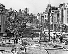 Construction of Main Street at Disneyland, 1955.