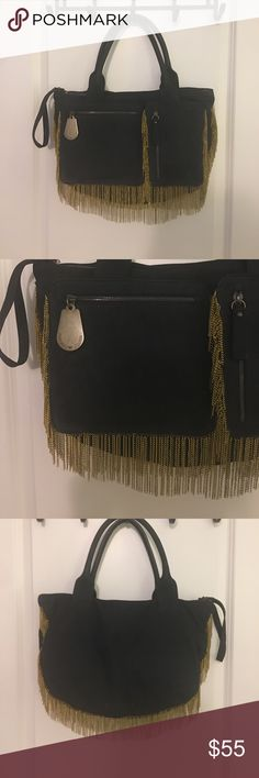 """Emporio Armani Bag Very unique, gently used bag. Black leather with chain fringe. There's a tiny bit of wear on a corner. W 16"""", 10.5, D 4"""", Handles 7"""". This bag is a head turner in a good way! Emporio Armani Bags"""