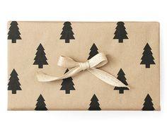 Pine Christmas Tree Kraft Wrapping Paper Black