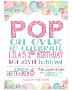 Bubble Theme Birthday Party Invitation 5x7 by haleyjanedesign