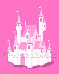 Art for girls, Cinderella Castle -custom colors- girls room nursery art print bedroom wall art Disney Princess Inspired. $18.00, via Etsy.