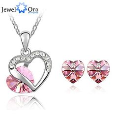 GLucky Romatic Elegant Crystal Rhodium plating Heart Party Jewelry Sets For Women New Necklace With Earrings Wedding Jewelry Set * Want to know more, click on the image. (This is an affiliate link) #JewelrySets