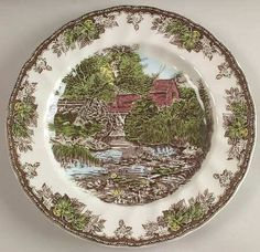 """Johnson Brothers Friendly Village, The (""""England 1883"""") Large Dinner Plate, Fine China Dinnerware by Johnson Brothers. $9.99. Johnson Brothers - Johnson Brothers Friendly Village, The (""""England 1883"""") Large Dinner Plate - England 1883 Only,Village Scenes,China"""