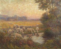 Vintage Landscape Oil painting  Glow of Evening by EPatrickGallery