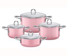 Silit Rose Pink Cookware Set of 4 – Kitchenware Perfect Pink, Pretty In Pink, Pink And Green, Pink Purple, Pink Dishes, Pink Power, Pink Houses, Kitchen Items, Kitchen Products