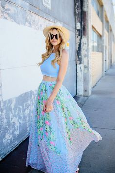 French Connection, Floral, Spring, Summer, Maxi, Skirt, Elizabeth and James, Pastel, Light, Blue, Zipper, Crop Top, JCrew, Silver, Metallic,...