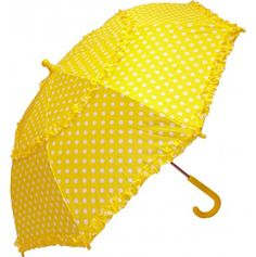 iRain Kids Yellow Polka Dot Ruffled Umbrella