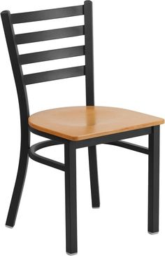HERCULES Series Black Ladder Back Metal Restaurant Chair - Natural Wood Seat. Create a first-rate dining experience by offering your patrons great food, service and attractive furnishings. The metal chair is a popular choice for furnishing restaurants, cafes, pool halls, lounges, bars and other high traffic establishments. This chair is easy to clean, which is an important aspect when it comes to a business. This chair was designed to withstand the daily rigors in the hospitality industry…