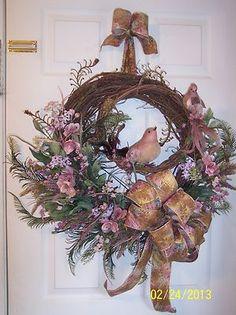 XL Spring Floral Door Wreath Pink Lavender Flowers Bird Door Wreath | eBay
