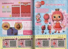 """sexyartgod: """" Animal Crossing New Leaf QR code dress patterns from the april issue of Pico-Pri magazine. I had to scan with the scanner cover off and books on top of the spine, so these scans might be hard to use. If someone could test them and see..."""