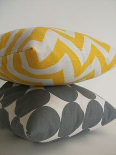 gray & yellow pillows from Etsy