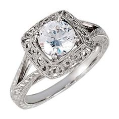 White Gold Stuller Made Semi Mount Setting Vintage Halo Style Engagement Ring- RG221274520526