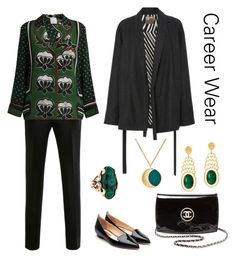 """Career Wear"" by karen-galves ❤ liked on Polyvore featuring Martin Grant, Stella Jean, Rupert Sanderson, Chanel, Pamela Love and Alexandra Alberta"