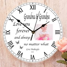 Grandma & Grandpa, Love you forever and always no matter what. Personalised photo clock from Write from the Heart. Thank you Cynthia for letting us share this photo of your order Personalized Clocks, Photo Clock, Wow Factor, No Matter What, Love You Forever, Photo Quality, Wow Products, What Is Love, Your Design