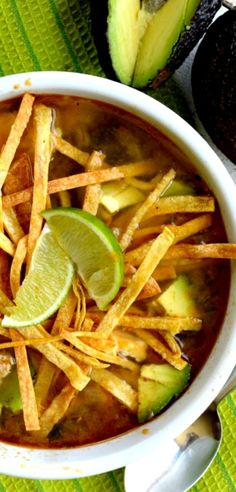 This is the BEST Tortilla Soup! Warm chickeny broth with a hint of lime……lots of chicken…….chunks of avocado……and crunchy tortilla strips! Top with extra avo and cilantro and this is off the charts!