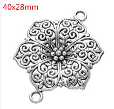 10PCS Tibetan Silver Flower Connector Charms Pendants Crafts Necklace Jewelry