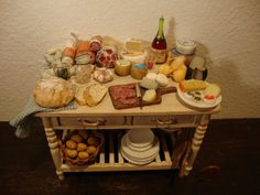 dollhouse Miniature table set up. with by bagusitalyminiatures